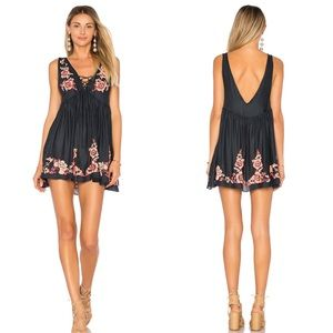 Free People Embroidered Aida Slip in Navy Sz M